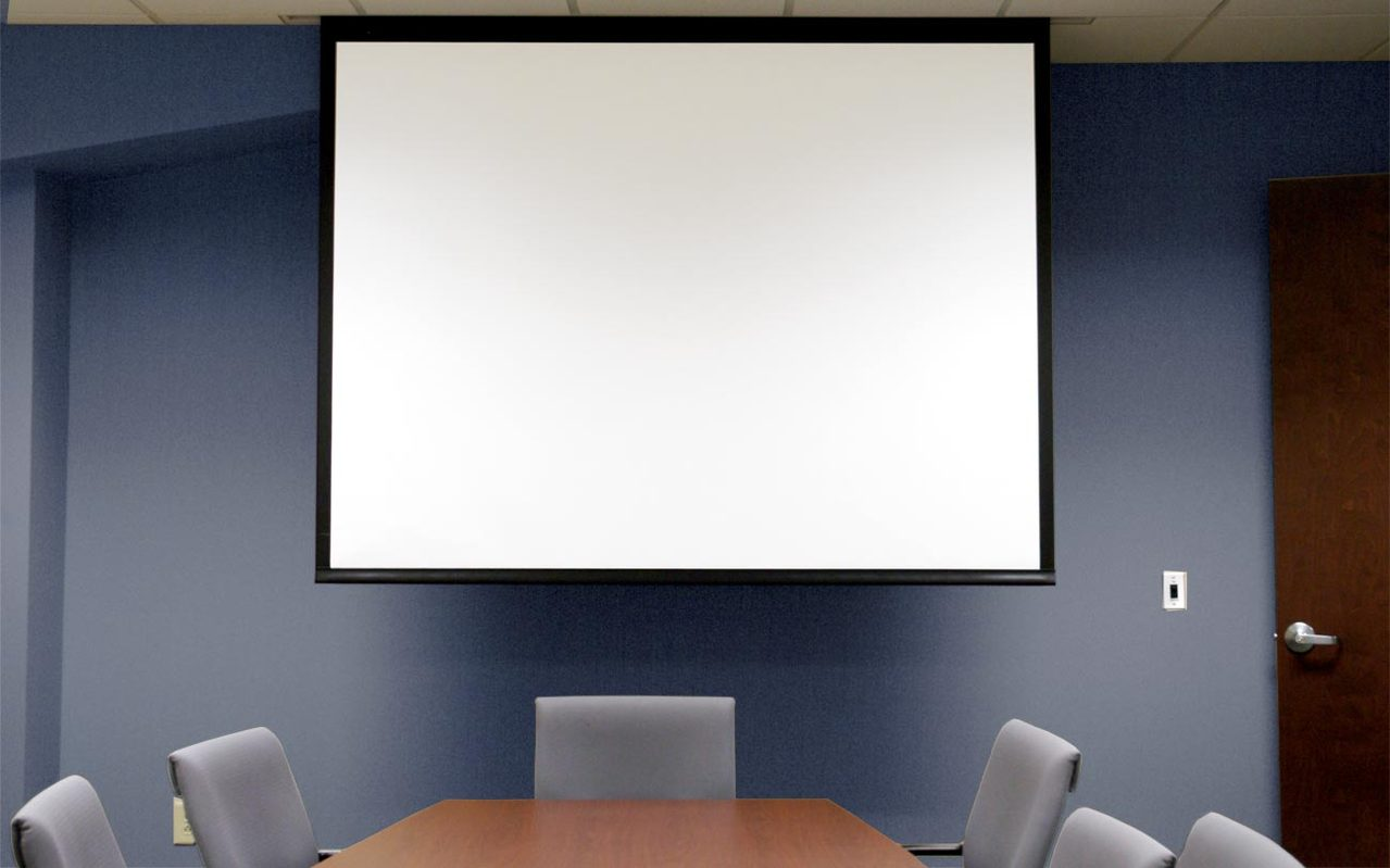 Conference with projection screen.