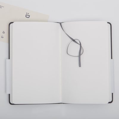 Close up of opened blank journal.