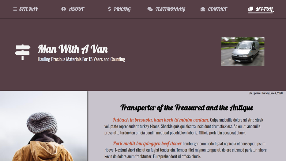 Man With A Van One Page Website