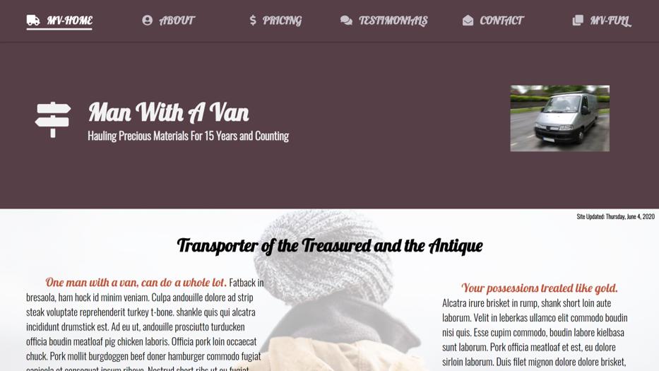 Man With A Van Website